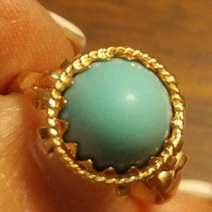 ❤SALE 14KT CABOCHON TURQUOISE RING